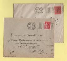Flier - Paris XVI - Rue Singer - Lot De 2 Lettres (eloignes Et Rapproches) - 7 Lignes Ondulees Serrees - Marcophilie (Lettres)
