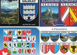 Lot De 8 Cartes Avec Blasons Adhésifs - Ansichtskarten