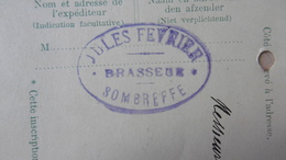PW / EP N°44 SOMBREFFE 10-11-1913 Prix Houblon Pour Brasserie à Sombreffe, Brasseur JULES FEVRIER - Postkaarten [1909-34]