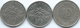 Singapore - 10 Cents - 1971 (KM3) 1985 (KM51) & 1993 (KM100) - Singapore