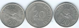 Singapore - 20 Cents - 1974 (KM4) 1990 (KM52) & 1993 (KM101) - Singapore