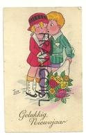 Gelukkig Nieuwjaar. Deux Enfants Et Grand Bouquet De Fleurs. Signée TOM - Altre Illustrazioni