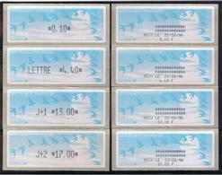 8 ATMs, LISA1, ENCRE NOIRE, 0.10/ LETTRE 4.40/ J+1 13.00/ J+2 17.00 Avec Reçus 9/02/96. PAPIER JUBERT BLEU Turqoise. - 1990 «Oiseaux De Jubert»