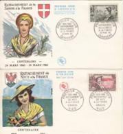 FRANCE - 1960 - FDC - Lot De 2 Enveloppes Illustrées - Rattachement De La Savoie Et De Nice - 1960-1969