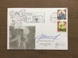 """Cartolina Ufficiale Ciliegia D'Oro 1994 A Julio Velasco"""" CON AUTOGRAFO Targhetta Vignola (MO) 27-3-1995 - Pallavolo"""