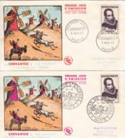 FRANCE - 1957 - FDC - Lot De 2 Enveloppes Illustrées - Cervantès, écrivain - 1950-1959