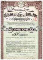 Obligation Ancienne - Sté Anonyme Des Charbonnages Unis De L'Ouest De Mons - Titre De 1916 N°09309 - Mines