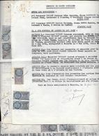 CESSION DE PARTS SOCIALES -Sté MINIERE DE L'OUED TESSA Tunisie  1953-54- 3 Feuilles  BIZERTE  Fiscaux 30-60-120 - Autres