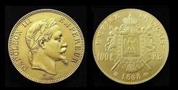 COPIE - 1 Pièce Plaquée OR ( GOLD Plated Coin ) - France - 100 Francs Napoléon III Tête Laurée 1868 BB - France