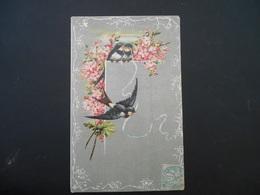 Hirondelles Tenant Un Ruban Bleu, Fleurs Roses - Gaufrée - Oiseaux