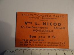 P   PUB CARTE DE VISITE PHOTOGRAPHIE L NICOD MONTSOREAU - Publicité