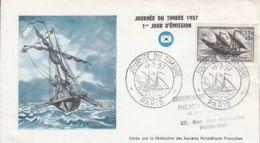 FRANCE - 1957 - FDC - Enveloppe Illustrée - Journée Du Timbre - FDC