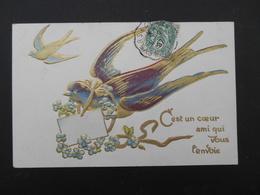 Hirondelle Volant Avec Lettre Et Myosotis Autour Du Cou - Dorure - Gaufrée - Birds