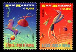 (!)  EUROPA CEPT De 2002  Thème Du Cirque  SAINT MARIN Y&T 1805/1806  Neuf(s) ** Mnh - 2002