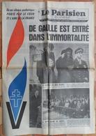 Mort Du Général De Gaulle.Satellisation De 2 Crapauds-buffles. - Journaux - Quotidiens