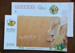 Cartoon Yangtze Alligator Family,China 2006 Yangzi Floor Zero Formaldehyde Wood Floor Advertising Pre-stamped Card - Reptiles & Batraciens