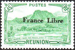 Réunion Obl. N° 194 - Vue -> Salazie, Mare Aux Poules D'eau Et Piton D'Auchain 45 Cts Vert Surchargé France Libre - Gebraucht