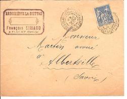 Obl DAGUIN Type Saga 15c Ardoisieres La Giettaz Gare De Villefranche S/SpourAlberville  Lot 166 - 1876-1898 Sage (Type II)