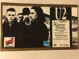 Tickets D'entrée - Concert U2 18/07/1987 à Montpellier - Tickets D'entrée