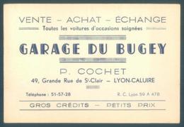 Carte De Visite Garage Du Bugey P. Cochet 49 Grande Rue De Saint Clair LYON CALUIRE    8 X 12 Cm - Cartes De Visite