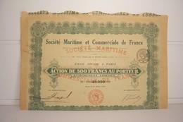 ACTION DE  500 Frs   AU  PORTEUR -   SOCIETE MARITIME ET COMMERCIALE DE FRANCE ( 1920 ) - Navigation