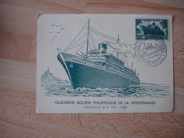 1954 Quatrieme Bourse Philatelique De La Mediterranee Marseille Obliteratuion Carte Paquebot Pasteu Et Timbre - Marcophilie (Lettres)