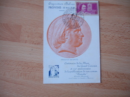 1950 Provins Exposition Balzac Carte Avec Timbre Balzac Chomeurs Intellectuels Provins - Marcophilie (Lettres)