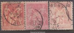 Les Trois Nuances Du 75c Rose Au Type II (N/U) Aspect TB (Y&T N° 81, Cote  +460€) - 1876-1898 Sage (Type II)