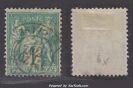 1c Sage Vert Type I (N/B) Aspect TB (Y&T N° 61, Cote  110€) - 1876-1878 Sage (Type I)