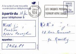 FRANCE - 1978 - Nouvelle Numérotation Téléphonique - Carte De Panazol Pour Neuilly - Briefe U. Dokumente