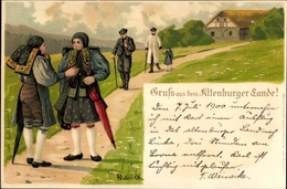 Artiste Lithographie Mailick, Gruß Aus Dem Altenburger Land, Personen In Thüringer Trachten - Costumes