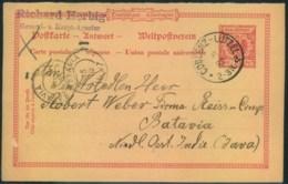 1897, 1 Pfg. Ganzsachenkarte Ab COBLENZ-LÜTZEL Nach Batavia, Niederländdisch Indien - Germany
