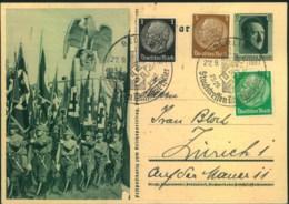 1937, Ganzsache Reichsparteitag Mit Zusatz Und Sonderstempel Nach Zürich - Allemagne