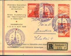 """1948, Sonderumschlag Per Einschreiben Zur """"ERSTE AUSSTELLUNG DER MAXIMAPHILIE"""" - Autriche"""