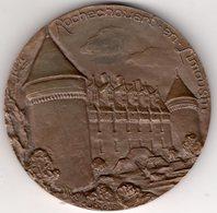 87 - ROCHECHOUART - RARE GRANDE MEDAILLE DE TABLE EN BRONZE ROCHECHOUART EN LIMOUSIN-CHATEAU-GRAVEUR QUEROLLE - Bronzes