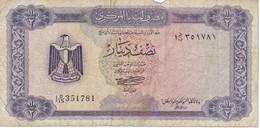 BILLETE DE LIBIA DE 1/2 DINAR DEL AÑO 1972 (BANKNOTE) - Libia