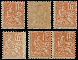117   Mouchon, 15c. Orange, 4 Ex. + Une Paire, 4 Variétés **/*, TB - Errors & Oddities