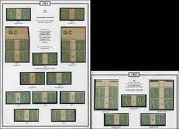 130   Semeuse Lignée, 15c. Vert-olive, Collection De Mill. S. FA, **/*, PAIRES Ou BLOCS De 4, 17 Pièces En Tout, TB - Errors & Oddities