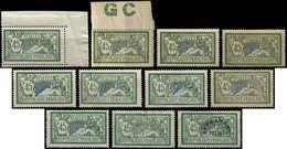 143   Merson, 45c. Vert Et Bleu, 9 Ex. Neufs Et Un Obl. + Préo 44, Nuances Diverses Ou Papier GC, TB - Errors & Oddities
