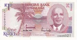BILLETE DE MALAWI DE 1 KWACHA DEL AÑO 1992 SIN CIRCULAR-UNCIRCULATED (BANKNOTE) - Malawi