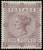 * GRANDE BRETAGNE 45a : 1£. Violet, Papier Blanc, Gomme Non Originale, TB, Certif. Calves-Jacquart - 1840-1901 (Viktoria)