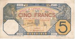 BILLETE DE SENEGAL DE 5 FRANCS DEL AÑO 1932  (BANKNOTE)  RARO - Sénégal