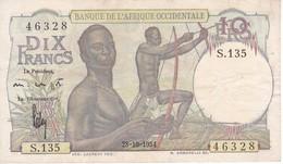 BILLETE DE BANQUE DE L'AFRIQUE OCCIDENTALE DE 10 FRANCS DEL AÑO 1954 CALIDAD EBC (XF) - Autres - Afrique