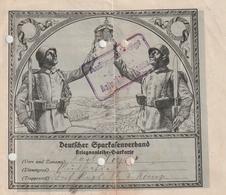 """Hist. Dokument / 1917 / """"Deutscher Sparkassenverband - Kriegsanleihe-Sparkarte"""", Mit 4 Sparmarken, 4 Seiten (BB65) - Documents Historiques"""