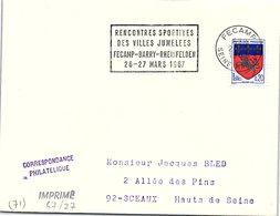 SPORTS  -RENCONTRES SPORTIVES DES VILLES JUMELEES FECAMP-BARRY-RHEINFELDEN 26-27 MARS 1967 - FECAMP 20.3.67 / 2 - Bolli Commemorativi