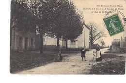 71 (ENVIRONS DE MÂCON )  SENOZAN BUREAU DE POSTES  ET RUE DE ST MARTIN  ( TRÈS BELLE CPA AVEC ANIMATION ) - France