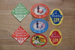 7 étiquettes Différentes. Grande Brasserie Moderne . Roubaix. - Bier