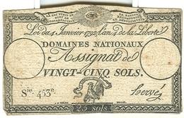 Assignat De Vingt-cinq Sols 25 Domaines Nationaux - Assignats