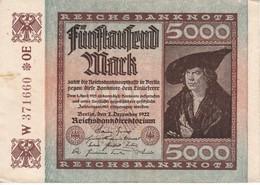 BILLETE DE ALEMANIA DE 5000 MARK DEL AÑO 1922  (BANKNOTE) - 5000 Mark