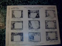 Publicité Catalogue 2 Pages A.Duseaux Fabricant De Diplômes Palmes & Couronnes Artistiques Paris Rue Pastourelle Année ? - Publicités